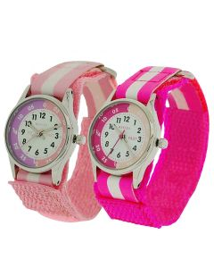 2 X Reflex Time Teacher Hot Pink / Pink Easy Fasten Girls Childrens kids Watch