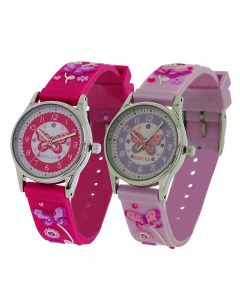 2 X Reflex Time Teacher Hot Pink / Lilac 3D Butterfly  Girls Childrens Kid Watch