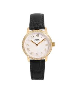 Rotary Ladies Silver Sunray Round Dial, Black Leather Strap Watch LS00341/01