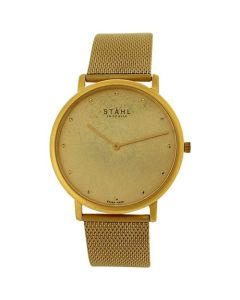 Stahl Gents Analogue Goldtone Dial & Stainless Steel Mesh Strap Watch ST62141