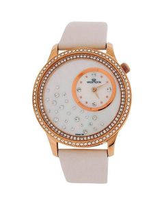 Western Moment Ladies Astarelle White Dial Crystal Set White Leather Smart Watch