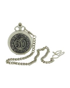 "Boxx ""Happy 50th Birthday"" White Dial Silvertone Gents Pocket Watch BOXX372"