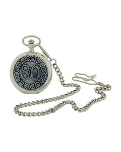 "Boxx ""Happy 80th Birthday"" White Dial Silvertone Gents Pocket Watch BOXX375"