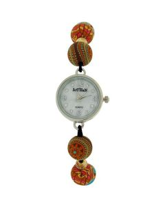 Artisan Beads Ladies Girl Hand Drawn Pattern Bead Elasticated Wrist Watch TOC156