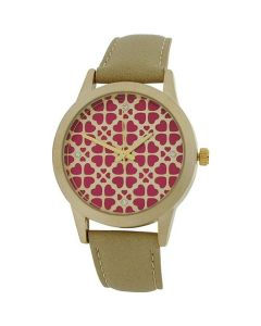 Anaii Pink Acacia Ladies Goldtone Heart Textured Dial Beige PU Strap Watch AP789