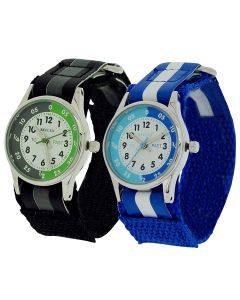 2 X Reflex Time Teacher Blue / Black Easy Fasten Kids Watch +Telling Time Award