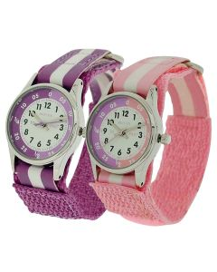 2 X Reflex Time Teacher Lilac / Pink Easy Fasten Kids Watch +Telling Time Award