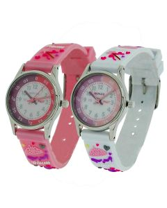 2 X Reflex Time Teacher Pink / White 3D Princess kids Watch + Telling Time Award