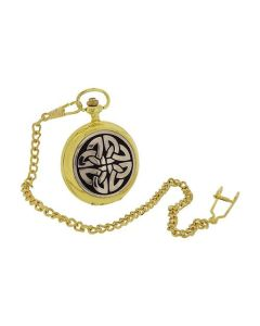 Boxx Gents Celtic Cross Design Cover Gilt Pocket Watch 14 Inch Chain BOXX402