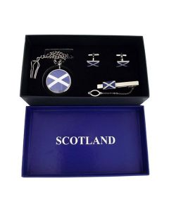 Boxx Scotland White Cross Pocket Watch, Cufflinks & Tie Clip Christmas Gift Set
