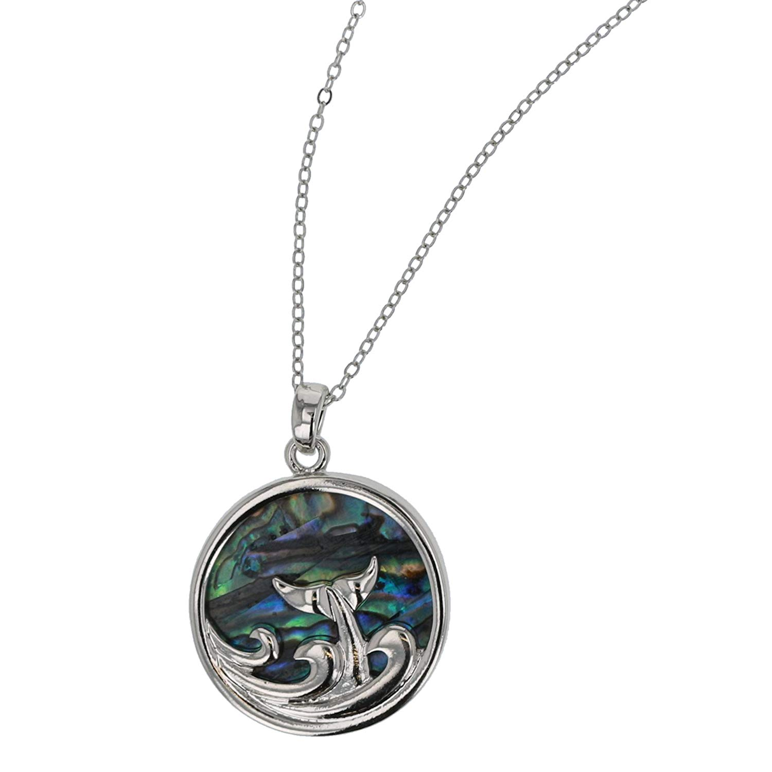 The Olivia Collection Plectrum Shaped Paua Shell Pendant on 18 Chain